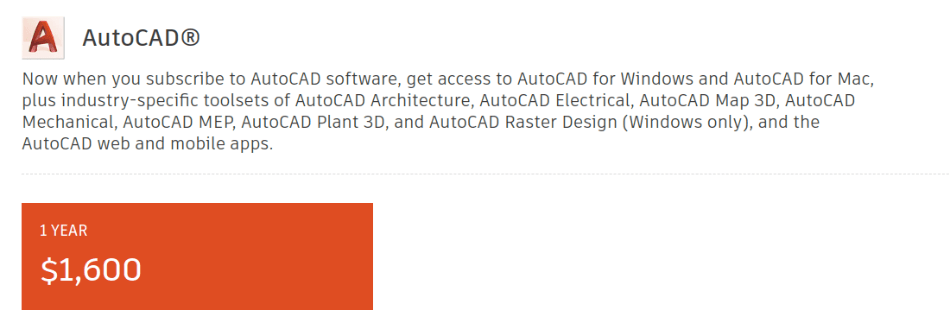 AutoCAD Pricing