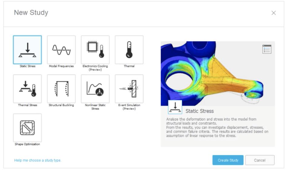 Fusion 360 simulation options